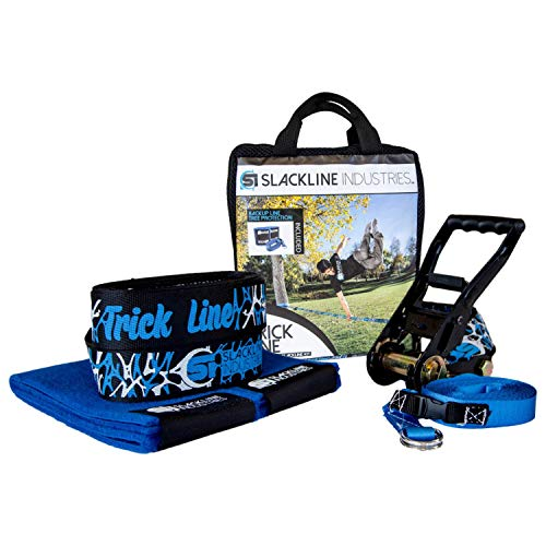 Slackline Industries Trick Line Trampoline Style Slackline Kit with Backup Line, Tree Protectors, Black - Zero Waste, 50-Feet