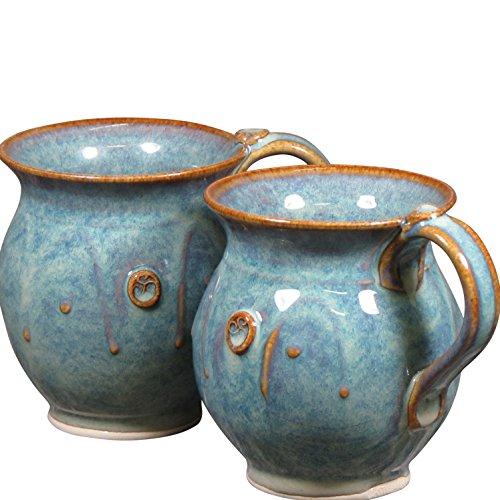 (Handmade Irish Coffee & Tea Mugs. Set of Two Hand-Thrown Cups 300ml)