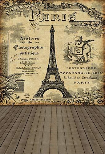 The Retro Eiffel Tower Backdrop-Yeele 4x6ft Romantic Love Eiffel Tower Pattern Brown Wooden Floor Photo Backdrop Portrait Shooting Studio Props Wallpaper