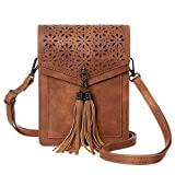 MINICAT Fringe Thicher Pocket Cell Phone Purse Wallet Small Crossbody Bags For Women With Credit Card Slots(Brwon)