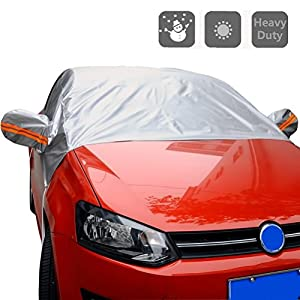 "Windshield Cover for Car - All Weather Universal Half Car Sun Shade Covers Windproof/Dustproof/Scratch Resistant Outdoor UV Protection Vehicle Front Window Cover Fits Sedan (55"" W x 93"" L)"