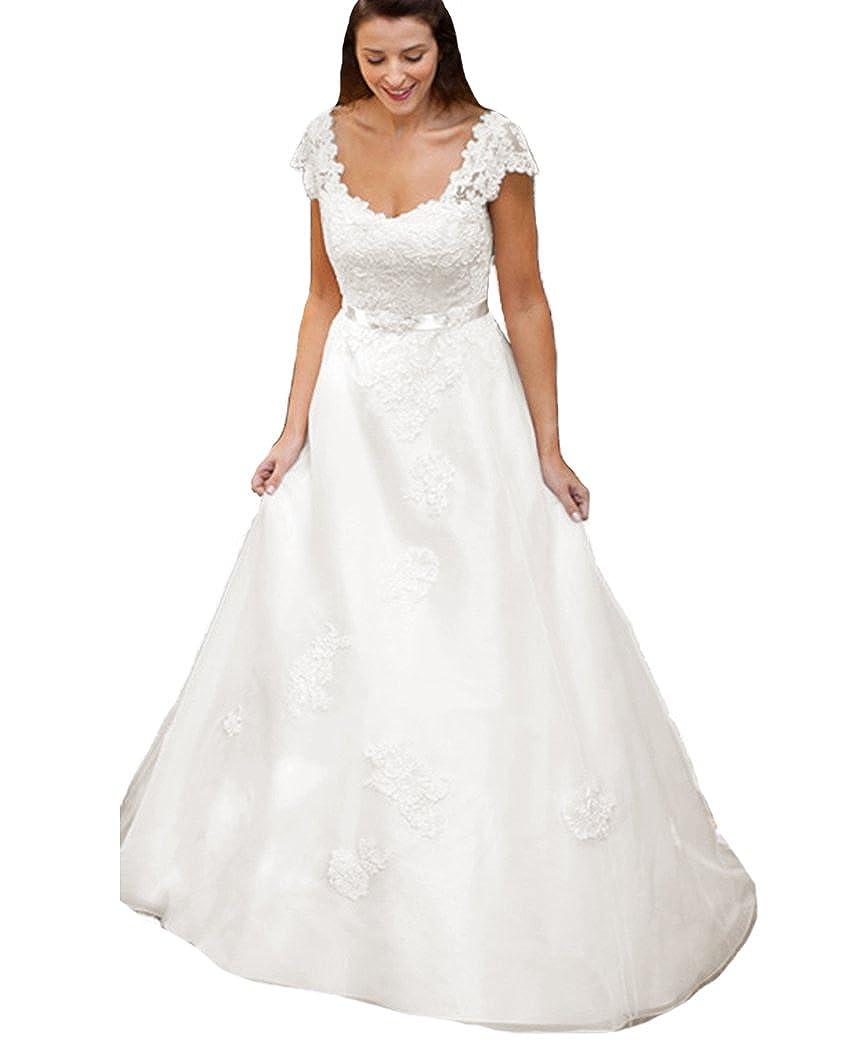 Qijunge Vintage Wedding Dresses Lace Cap Sleeves Country Bridal