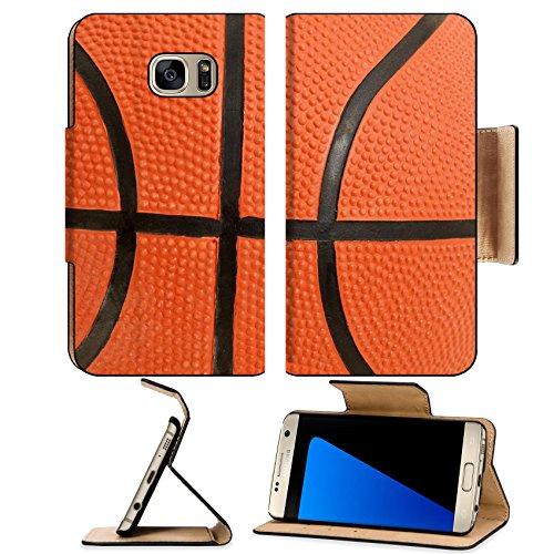 Luxlady Premium Samsung Galaxy S7 EDGE Flip Pu Leather Wallet Case IMAGE ID 6444759 Basketball detail showing pattern