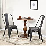 Belleze Set of (2) Side Chairs Dining Set w/ High Back Stackable Chair, (Antique Black)