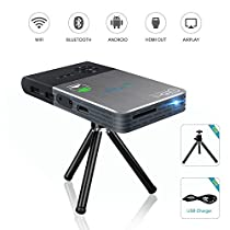 OTHA Uscita Android intelligente Mini proiettore del DLP portatile di WiFi Wireless LED proiettori HDMI Home Theater batteria incorporata