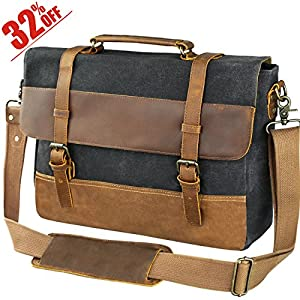 Messenger Bag for Mens Canvas Leather Laptop Business Briefcase Shoulder Bag
