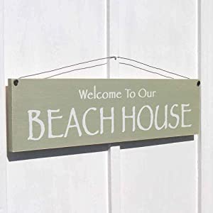43LenaJon Sign Welcome to Our Beach House Nautical Seaside Beach Home Decor Shabby sea shanty Wood Mantel Sign Wooden Farmhouse Welcome Door Label