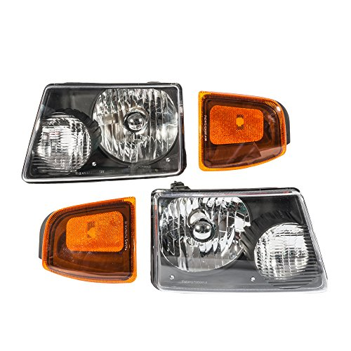 - 4Pcs Headlight Assembly Corner Signal Lamps for Ford Ranger 2001 2002 2003 2004 2005 Left Right Side Replacement Headlamps Driving Light Black Housing Clear Lens