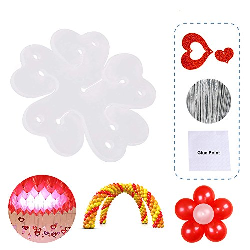 ips for Arch Balloon Column Stand and Balloon Flowers Shape for Wedding Birthday Party Supplies(70 clips,100 ribbons, 100 heart pendants) ()