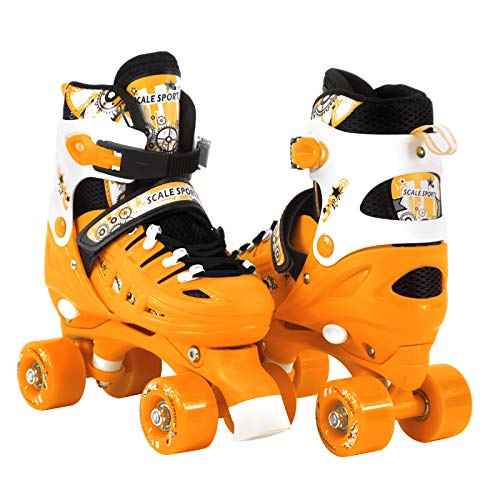 Scale Sports Adjustable Orange Quad Roller Skates for Kids Small Sizes