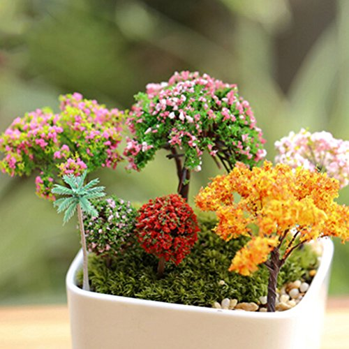 Buytra 6-Pack Miniature Fairy Garden Ornament Trees DIY Dollhouse Plant Pot Home Decor