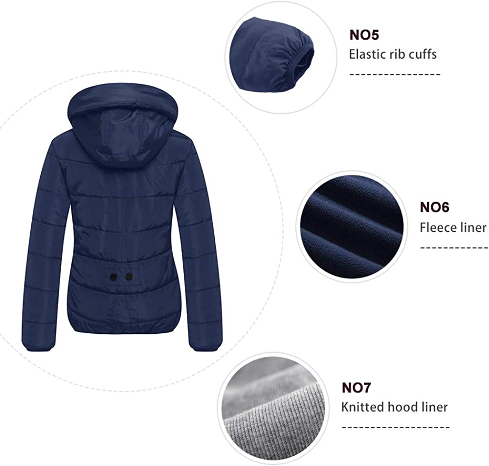 Wantdo Womens Winter Quilted Puffer Padded Cotton Warm Jacket with Hood