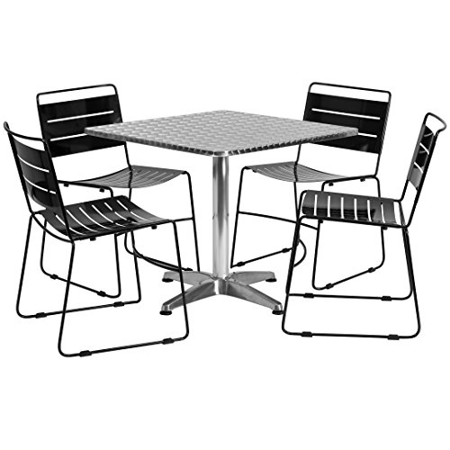 MFO 31.5'' Square Aluminum Indoor-Outdoor Table with 4 Black Metal Stack Chairs