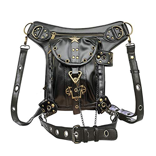 (Steampunk Waist bag Fanny Pack Retro Fashion Gothic Casual Leather Shoulder Crossbody Messenger Bags Punk Rock Thigh Leg Hip Holster Purse Pouch Travel Hiking Sport Chain Bags for Women Men)