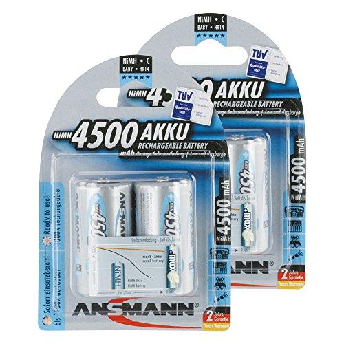 ANSMANN maxE Baby C Akku 4500mAh (4er Pack) vorgeladene ready2use NiMH Power Akkubatterie Babyzelle mit geringer Selbstentladung
