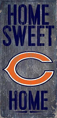 Chicago Bears Official NFL 14.5 inch x 9.5 inch Wood Sign Home Sweet Home by Fan Creations - Chicago Malls Outlet