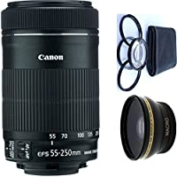 Canon 55-250mm IS STM Lens + 4pc Macro Lenses Set (+1 +2 +4 +10) + High Definition Wide Angle Auxiliary Lens