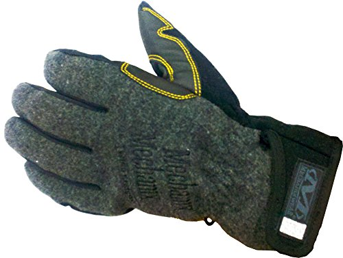 Mechanix Wear MCW-WR-010 Large Gray Fleece Lined Cold Weather Gloves with Double Reinforced Thumb, Hook and Loop Wrist Closure, Wind-Resistant Barrier and Rubberized Palm, 15.34 fl. oz.