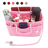 Injoy Felt Purse Insert Multi-pocket Organizer, Handbag Organizer, Fit Speedy 35-40, Bag in Bag, 10 Compartments, 2 Sizes, 6 Colors -Size M, Pink