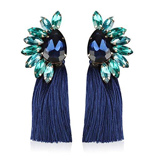 Statement Crystal Tassel Earrings Blue Drop Dangle for Women Girl Novelty Fashion Summer Accessories -VE136 Blue