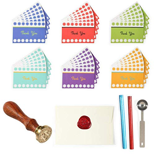 36 Folded Thank You Cards with Bright Colors and Elegant Chic, with BONUS Wax Stamp kit, 100% Refund Guarantee