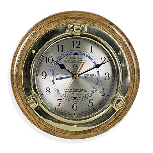 WALL CLOCKS - BRASS PORTHOLE TIDE AND TIME WALL CLOCK -