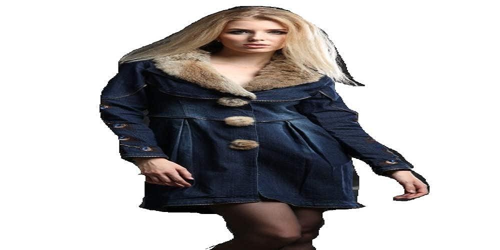 LAZYDAISY Limited Edition Denim Coat with Original Fur (bluee, XL)