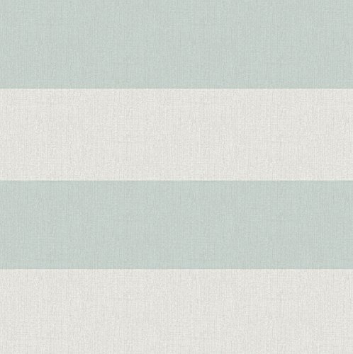 Awning Stripe Wallpaper - Chesapeake 3113-194536 Awning Aqua Stripe Wallpaper