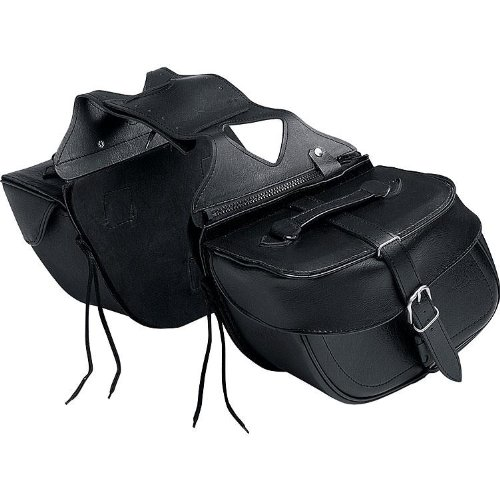 Motorrad Sattel-Tasche QBag Kunstledersatteltaschenpaar 08, abnehmbar, universell, formstabil, zentraler, verdeckter Klickverschluss, Schwarz, 20 Liter