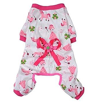 Pijama mono para perros o gatos con estilo de princesa, color rosa, con estampado