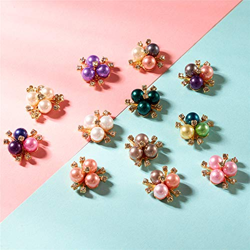 24 PCS Crystal Rhinestones Pearl Flower Buttons, Rhinestone Flower Embellishments Button DIY Accessories for Jewelry Making, Wedding DIY Supplies, Clothes, Bags, Shoes and Sew Craft Projects