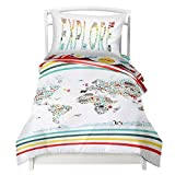 Twin World Map Reversible Duvet Cover Set with 1 Pillowcase for Kids Bedding - Double Brushed Microfiber Does Not Shrink or Wrinkle by Where The Polka Dots Roam (68