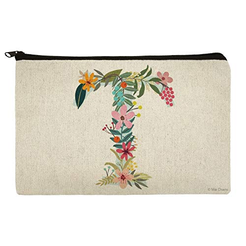 Letter T Floral Monogram Initial Makeup Cosmetic Bag Organizer Pouch