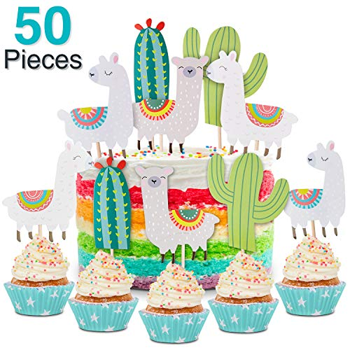 50 Pieces Llama and Cactus Cupcake Toppers Happy Birthday Cupcake Picks, Baby Shower Birthday Party Decor