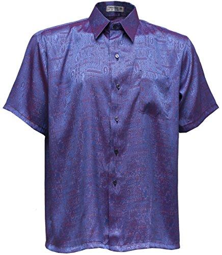 navasilk Men's Shirt Short Sleeve Jacquard Thai Silk (L, Purple) (Thai Clothes Silk)