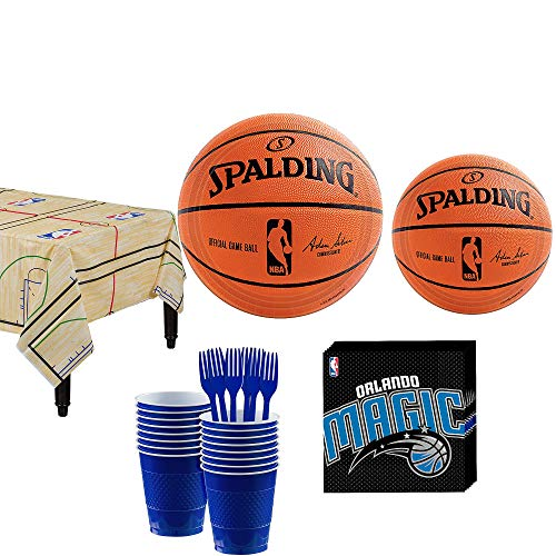 Party City Orlando Magic Party Kit 16 Guests, Includes Table Cover, Plates, Napkins and More