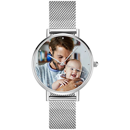SOUFEEL Personalized Watches Silver Waterproof Wrist Watch Couple Custom Photo Watch for Women Men 40mm by SOUFEEL