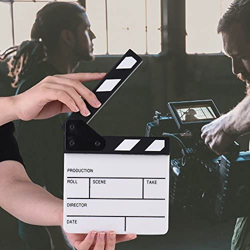 Action Cut Board,Andoer Acrylic Clapboard Dry Erase Compact Size TV Film Movie Director Cut Action Scene Clapper Board Slate