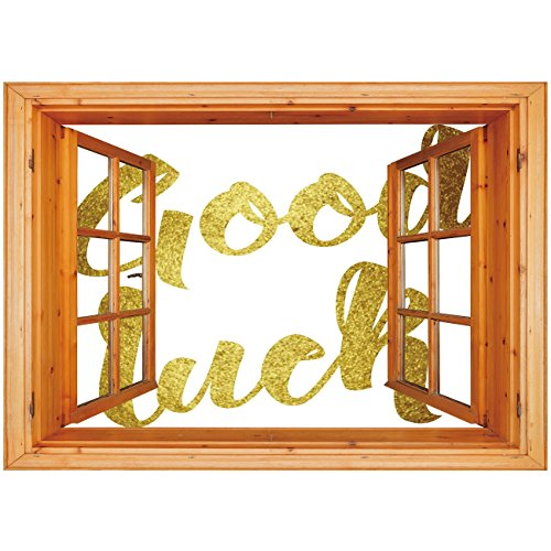 3D Depth Illusion Vinyl Wall Decal Sticker [ Going Away Party Decorations,Good Luck Wish Note Hand Written Lettering Greeting Card Concept,Gold ] Window Frame Style Home Decor Art Removable Wall Stick