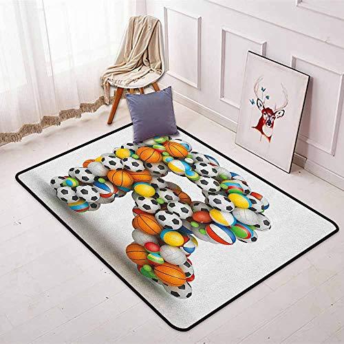 Letter R Super Soft Round Home Carpet Realistic Looking Volleyball Basketball Soccer Balls Language of The Game Theme for Sofa Living Room W47.2 x L63 Inch Multicolor ()