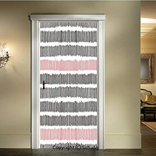 baihemiya 3D Door Wallpaper Stickers,Hand Drawn Short Vertical Lines Retro Horizontal Stripes Hipster Doodle,W30.3xL78.7inch,Suitable for Any Dry,Flat surfaceBlack Coral White