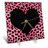 3dRose LLC Punk Rockabilly Pink Cheetah Animal Print Black Heart Desk Clock, 6 by 6-Inch