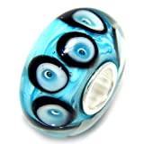 """925 Sterling Silver """"Wavy Blue Background with Blue and Black Circles"""" Glass Charm Bead"""
