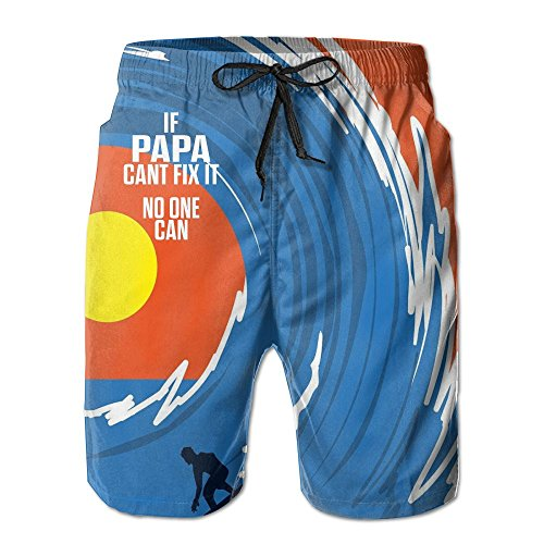 Man's Ultra Quick Dry Lightweight No Mesh Lining Hot Papa Can't Fix No One Can Swim Trunk Board Shorts Boardshort with Pocket M Gifts Adult