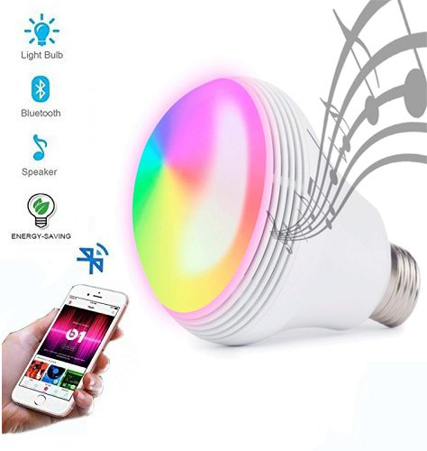 Huamai Bluetooth Speaker Bulb, 2nd Generation LED Light Bulb with Bluetooth Speaker, 8W E26 Dimmable RGB+White Color Smart Music LED Bulb Light by Huamai
