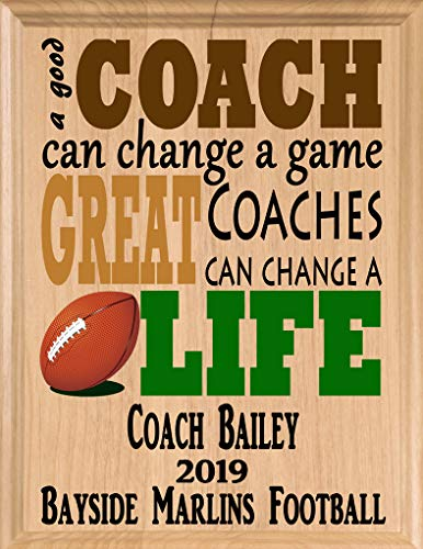 (Broad Bay Football Coach Gifts Personalized Coaches Gift Team Appreciation Thank You Plaque)