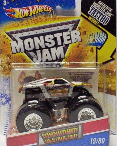 2011 Hot Wheels Monster Jam  19 80 MAXIMUM DESTRUCTION 1 64 Scale Collectible Truck with Monster Jam TATTOO by Mattel