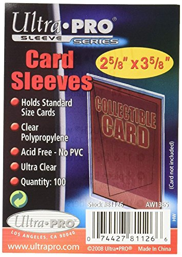 Ultra Pro Soft Card Sleeves 2-5/8-Inches X 3-5/8-Inches, Ultra Clear (100-Count) -