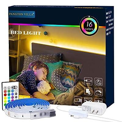 Bed Backlights, Led Night Light, 4.92ft Led Strip Lights with Switch Power Supply and Remote, 16 Colors Changing Strip Lights, RGB Night Light for Kids, Room, Bedroom, Mood Lighting Bedside Led Lights