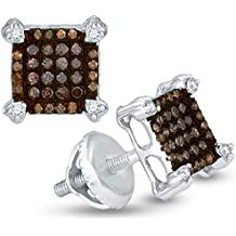 10K White Gold Princess Square Shape Halo Studs Prong Set Chocolate Brown & White Diamond Earrings (1/4 cttw.)